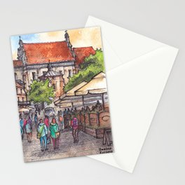 Town view ink & watercolor illustration Kazimierz Dolny Poland Stationery Cards
