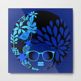 Afro Diva : Sophisticated Lady Royal Blue Metal Print