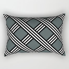 PPG Night Watch, Black & White Diagonal Stripes Lattice Pattern Rectangular Pillow