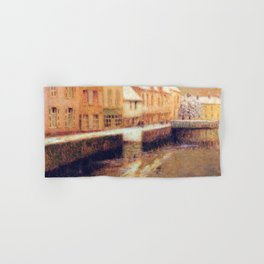 Henri Le Sidaner - Canal in Bruges, winter (new color editing) Hand & Bath Towel