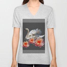 White Swan & Peach Water Lilies Grey Art Patterns Unisex V-Neck