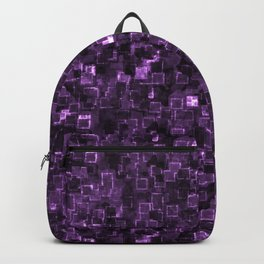 Purple Cyber Glow Neon Squares Pattern Backpack