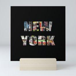 New York (photo type on black) Mini Art Print