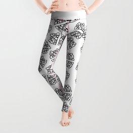 Abstract hand painted modern black geometrical pattern Leggings