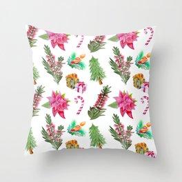 Christmas Pattern with Australian Native Bottlebrush Flowers Throw Pillow