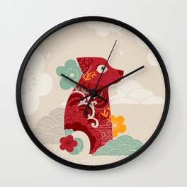 Oriental red dog. Chinese design. Year of the dog Wall Clock