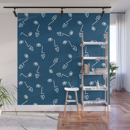 Face on paper cyanotype Wall Mural