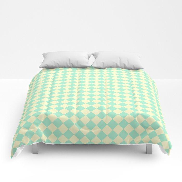 Cream Yellow and Magic Mint Green Diamonds Comforters