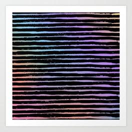 Pink coral lavender watercolor black hand painted stripes Art Print