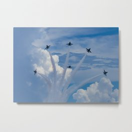 Blue Angels Delta Break over Pensacola Beach Metal Print