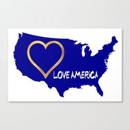 Love America USA Map Silhouette Canvas Print