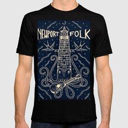 1959 Vintage Newport Folk Festival - Fort Adams, Newport, Rhode Island - Advertising Poster T-shirt