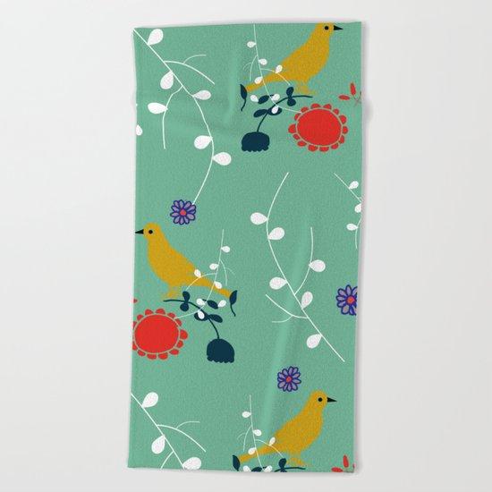 Bird and blossom green Beach Towel