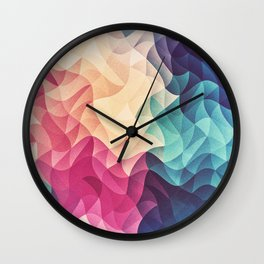 Geometry Triangle Wave Multicolor Mosaic Pattern - (HDR - Low Poly Art) - FULL Wall Clock
