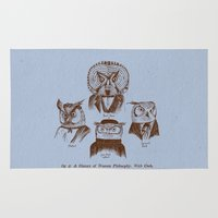 philosophy Area & Throw Rugs featuring A History of Western Philosophy. With Owls. by Jon Turner