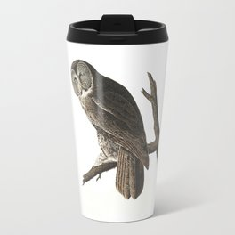 Great Cinereous Owl - Illustration by J.J. Audubon Travel Mug