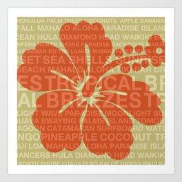 Summer Words Hawaiian Hibiscus Graphic Design Art Print