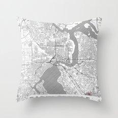 Jacksonville Map Line Throw Pillow