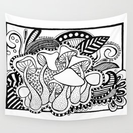 Mushrooms outline black and white drawing Wall Tapestry