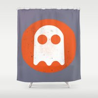 video game Shower Curtains featuring Video game - Retro Vintage Fashion by totemxtotem