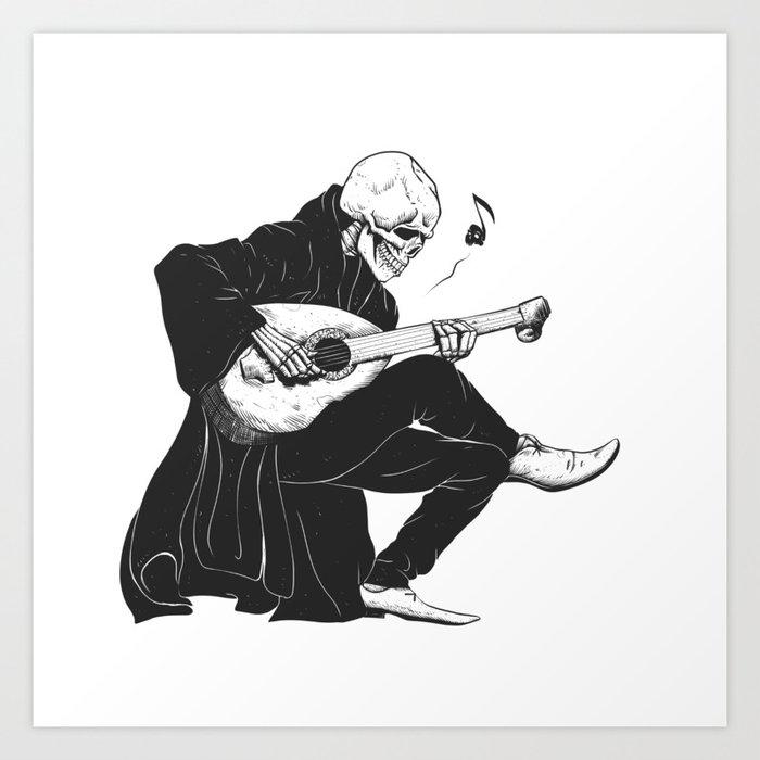 Minstrel playing guitar,grim reaper musician cartoon,gothic skull,medieval skeleton,death poet illus Kunstdrucke