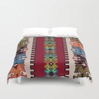 kilim Duvet Covers featuring Kilim pattern 026 by Ranka Stevic