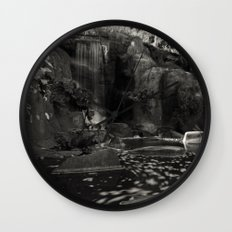 Huntington Falls - B & W Wall Clock