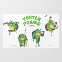 ninja turtle Area & Throw Rugs featuring Ninja Turtles Turtle Power by MrMaars