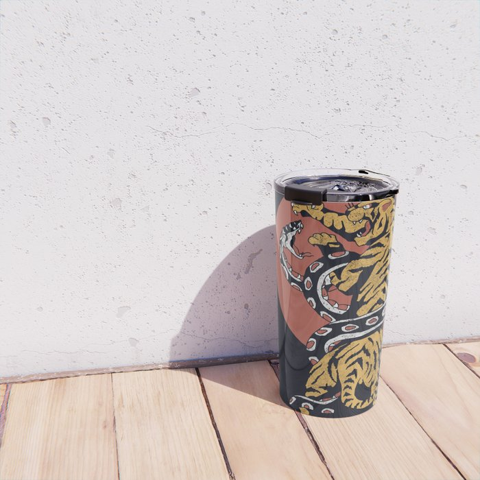 Classic Tattoo Snake vs Tiger Travel Mug