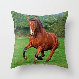 Charging horse Throw Pillow