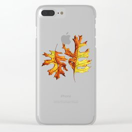 Ink And Watercolor Painted Dancing Autumn Leaves Clear iPhone Case