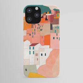 italy coast houses minimal abstract painting iPhone Case