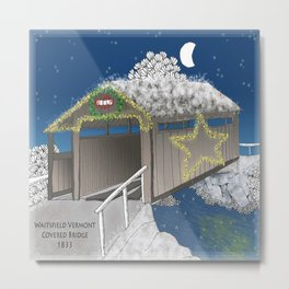 Vermont Covered Bridge at Christmas - Zentangle Illustration Metal Print