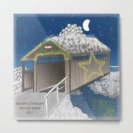 Vermont Covered Bridge at Christmas - Zentangle Illustration Metal Print