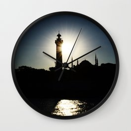 Sunset in Istanbul, view of Airkhapi Lighthouse and the Hagia Sophia Grand Mosque Wall Clock