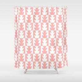Art Deco Jagged Edge Pattern Peach Shower Curtain
