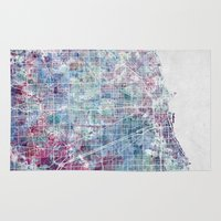 chicago map Area & Throw Rugs featuring Chicago map by MapMapMaps.Watercolors
