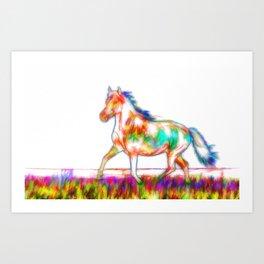 Horse on a green grass Art Print