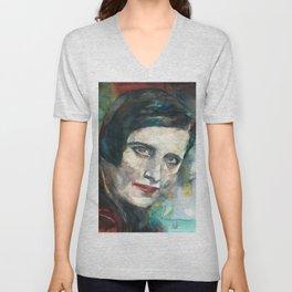 AYN RAND - watercolor portrait.3 Unisex V-Neck