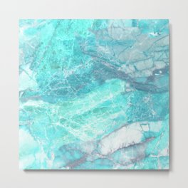 Marble Turquoise Blue Agate Metal Print