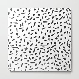 Artistic black white hand drawn dots brushstrokes Metal Print