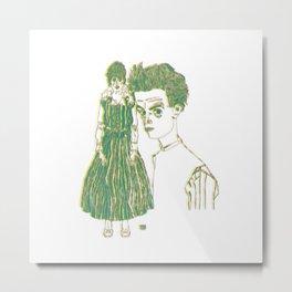 Egon and Edith Schiele Striped Metal Print