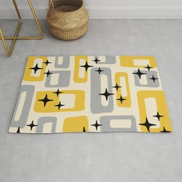 Retro Mid Century Modern Abstract Pattern 226 Yellow and Gray Rug