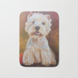 White Terrier Westie Dog portrait Oil painting on canvas Decor for Pet Lover Bath Mat