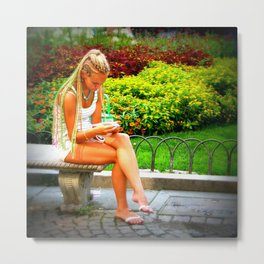 Reading in the Park Metal Print