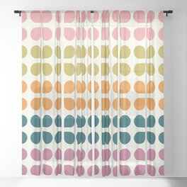 Retro '70s Geometric Leaves Sheer Curtain