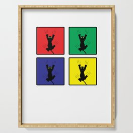 Retro Colorful Pop Art Cute Cat Scratching Animals Serving Tray