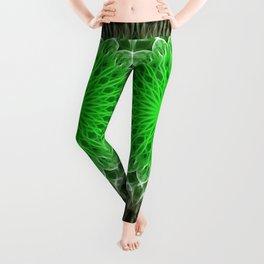 Mandala in light and dark green tones Leggings