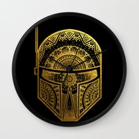 gold foil Wall Clocks featuring Mandala BobaFett - Gold Foil by Spectronium - Art by Pat McWain