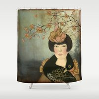 black swan Shower Curtains featuring Black Swan by Vulpine Forest